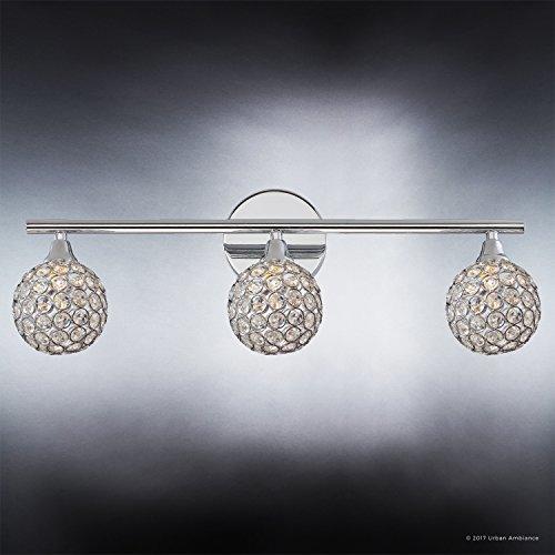 Luxury Crystal Globe LED Bathroom Vanity Light, Medium Size: 8''H x 23''W, with Modern Style Elements, Polished Chrome Finish and Crystal Studded Shades, G9 LED Technology, UQL2631 by Urban Ambiance by Urban Ambiance (Image #3)