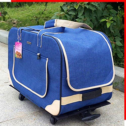 NAUY- Erhöhte vier Runden des zusammenklappbaren Hundewagen-Falles Gehen Rucksack-Haustier-Wagen-alter Hundewelpen-Haustier-Laufkatze-Beutel-Käfig ( Farbe : Blau )