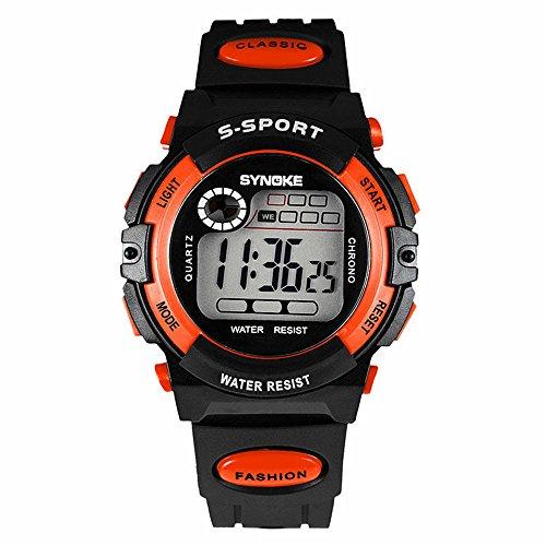 Sayeah Kids Sport Outdoor Digital Analog Quartz Dual Waterproof PU Resin Band Watch with Chronograph Alarm Classic Design Calendar Date Window for Boys Girls Children (Analog Alarm Chronograph)
