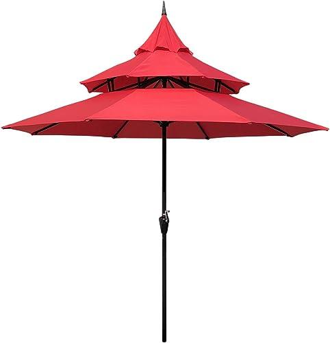 Sunset Vista Designs 300005-R Imperial 9 Ft. Steel Pagoda Outdoor Patio Umbrella