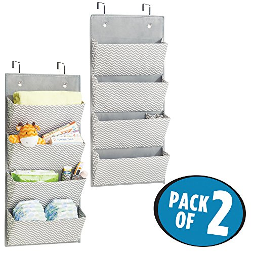 mDesign Chevron Wall Mount/Over Door Fabric Closet Storage Organizer for Toys, Baby/Kids Clothing - Pack of 2, 4 Pockets, Gray/Cream