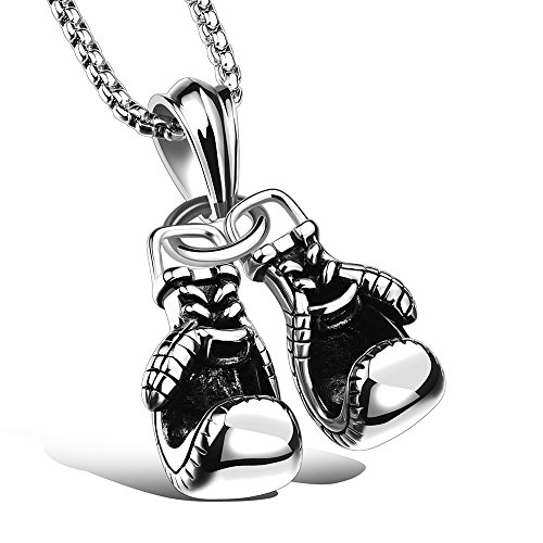 Apopo Boxing gloves Necklace HipHop Jewelry Pendant with 23' Chain - silver by Apopo