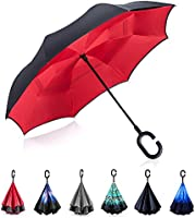 Inverted Umbrella by Tooge, Cars Reverse Umbrella for Wind and Rain Protection-Double Layer and Self-Standing, with C-Shaped Handle and Umbrella Cap (Black)