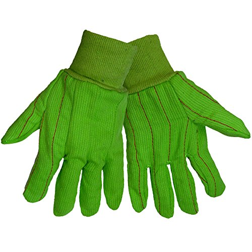 Global Glove C18GRC 100 Percent Cotton Corded Canvas Glove with Knit Wrist Cuff, Work, Large, Lime Green (Case of (Corded Canvas Glove)