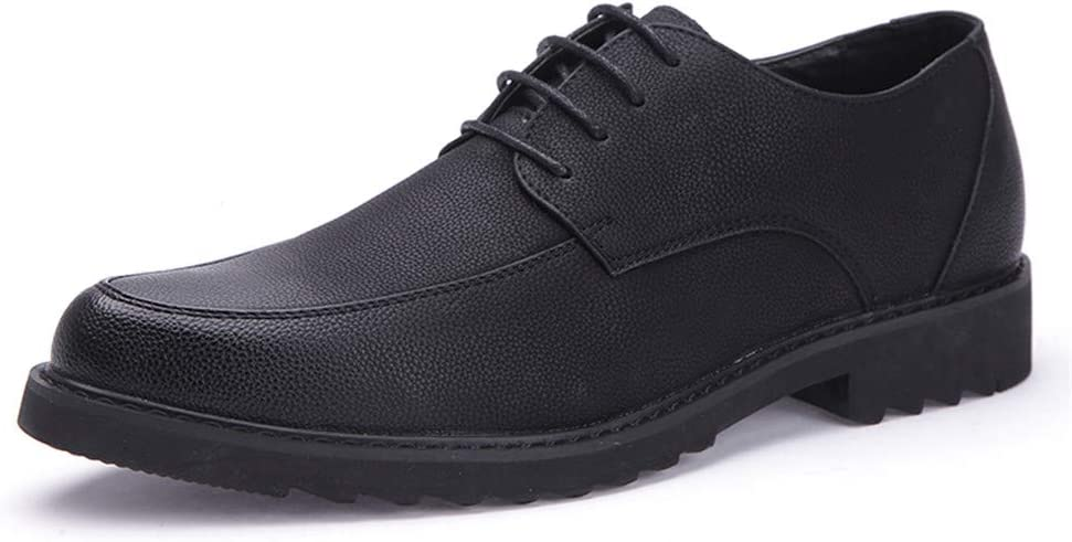 M Hilotu Clearance Mens Business Oxford Casual Classic Fashion Lightsome Soft Leather Lace Formal Black Shoes Color : Black, Size : 7 D US