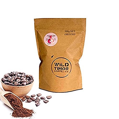 Present WINING Australian Coffee - Wild Timor Coffee. 500g (1.1lb) Wild Organic Whole Bean Coffee, 'Ground' for French Press / Drip Brewing. Level Trade from East Timor.