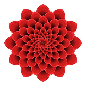 EW Designs Pretty 3-D Optical Illusion Mandala Dahlia Flower – Red Vinyl Decal Bumper Sticker (4″ Wide)