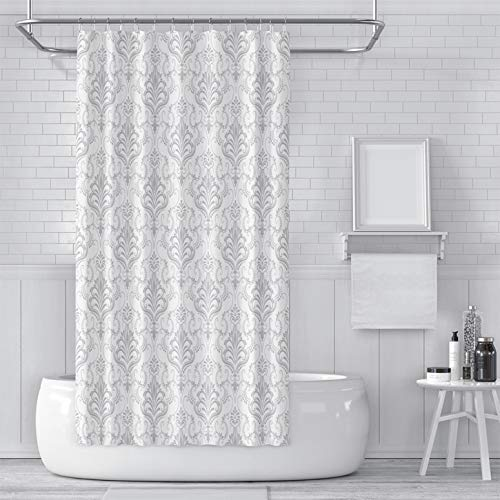 LINERON Shower Curtain with Hooks Modern Fashion Classical Luxury Old Fashioned Damask Ornament Grey Floral Downy Waterproof Bathroom Fabric Stall Size 48 x 72 Inches