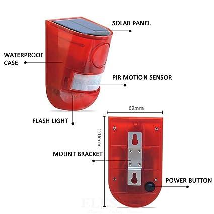 Amazon.com: Sirena de alarma solar con 6 luces LED con ...