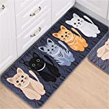 Non Slip Door Floor Mats Hall Rugs Kitchen Bathroom Entrance Cartoon Carpet (19.7''*31.5'', blue)