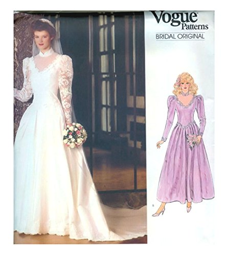 (Vogue Sewing Pattern 1092 vintage 1980s wedding dress - Size 10)