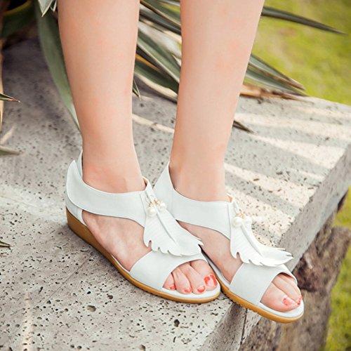 Easemax Womens Sweet Pendant Beads Hook And Loop Open Toe Low Wedge Heel Sandals White GGd8N