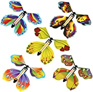 10pcs Magic Flying Butterfly Wind Up Rubber Band Powered Butterfly for Kids Boys Girls Christmas Surprise Gift