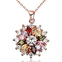 WKShop New Women 18K Rose Gold GP Mixed Color Swarovski Crystal Zircon Pendant Necklace