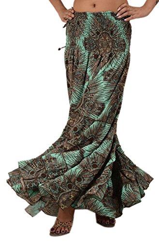 NEW Women Long Skirt Maxi Art Silk Printed Dress Skirt Elastic Boho Floral (Green)
