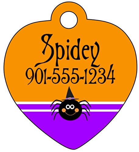 Halloween Themed Pet Id Tag for Dogs & Cats Personalized w/ Name & Number (Spider, Heart 1.25x1.375