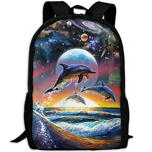DKFDS Backpacks Most Durable Lightweight Travel Water Resistant School Backpack One Size - Art Puzzle Dolphins ()