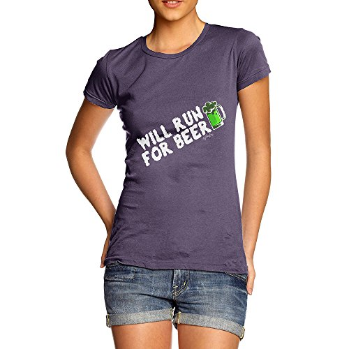 TWISTED ENVY Adult Humor Novelty Graphic Sarcasm Funny T Shirt ST Patrick's Day Will Run For Beer Women's T-Shirt X-Large ()