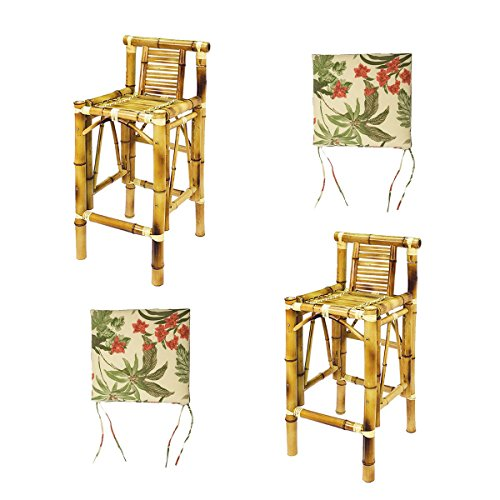 - RAM Gameroom Set Of Two Bamboo Tiki Bar Stools with Beige Cushions