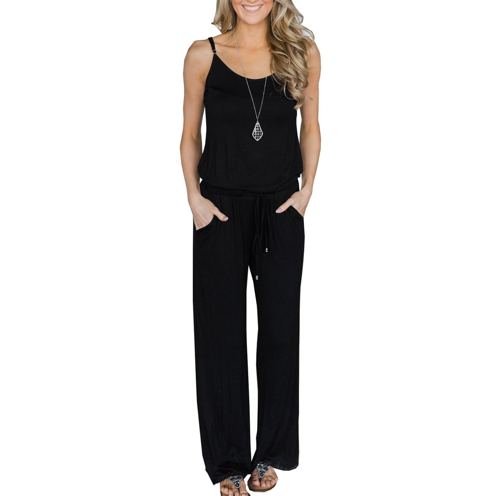ANRABESS Women's Casual Striped Jumpsuit Halter Sleeveless Loose Wide Long Pants Jumpsuit Rompers with Pockets chunhei-M-LMF-24