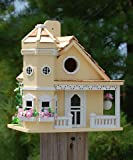 Home Bazaar Flower Pot Cottage Bird House, Yellow