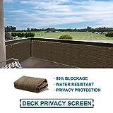 SoLGear Privacy Fence Screen Mesh for Balcony Porch Verandah Deck Terrace Patio Backyard Railing 160GSM Up to 90% Blockage 3'x100' Brown