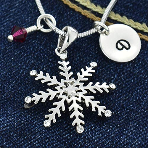 Personalized Snowflake Winter Pendant Custom Necklace Hand Stamped Initial Letter Charm Sparkling Crystals Birthstone Charm Chain Gift Jewelry