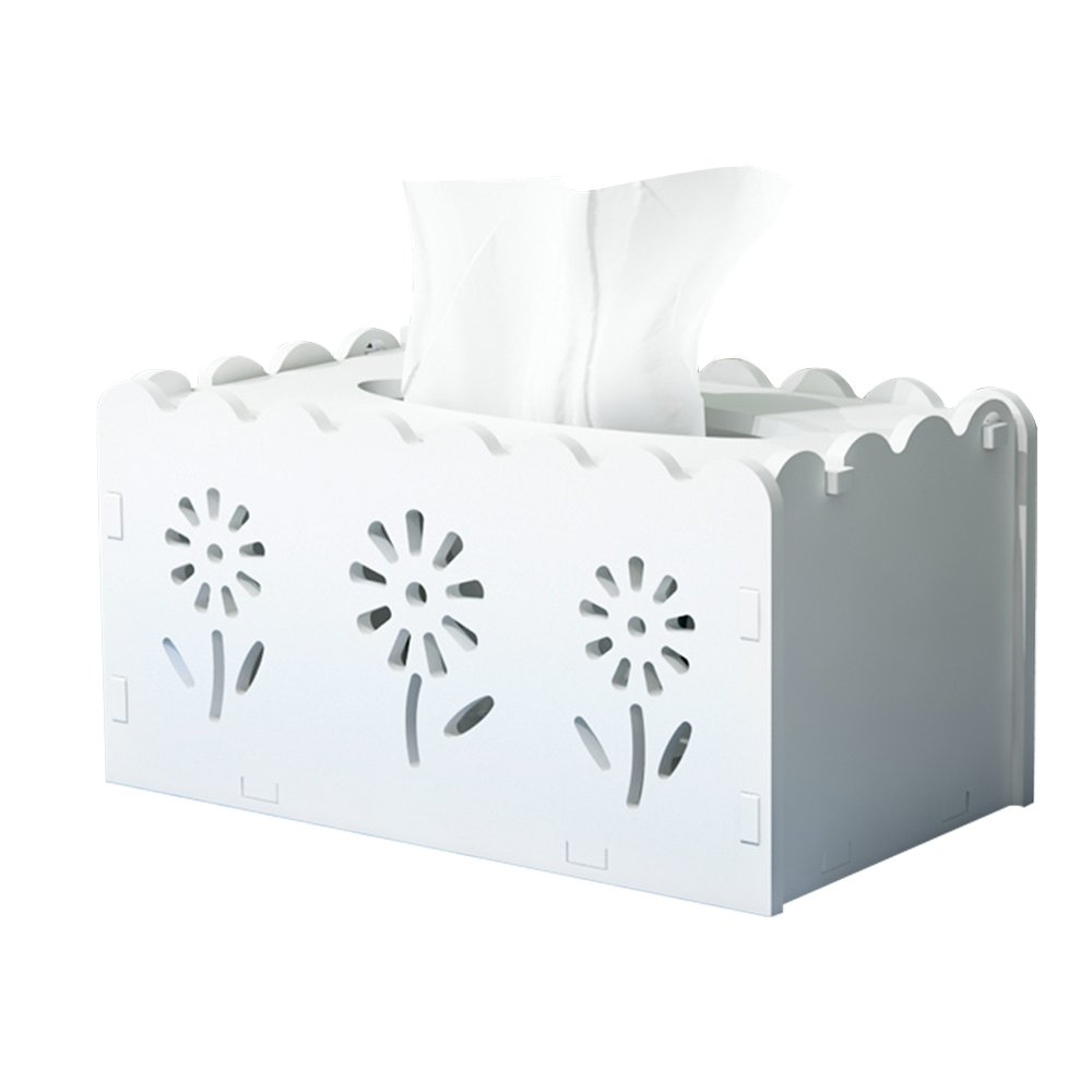 XUEXUE Home Carved Tissue Box Bedroom Creative Tissue Box Living Room European Napkin Tray White Paper Box (White)