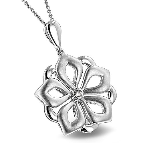 Luxurman Love Quotes Sterling Silver Ladies Diamond Flower Pendant Chain (0.01ct,H-I Color,SI-I Clarity)
