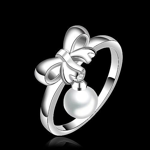 lerysox (TM) Plata de ley 925 joyería único arco anillos de boda para mujer con perlas diseño especial de punk anillos para hombres en gran calidad Anillos: ...