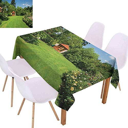 UHOO2018 Garden,Restaurant Table Cloth,Peaceful Countryside Landscape with Blooming Roses Brick Path and a Small Gazebo,Great for Kitchen Decoration,Multicolor,73