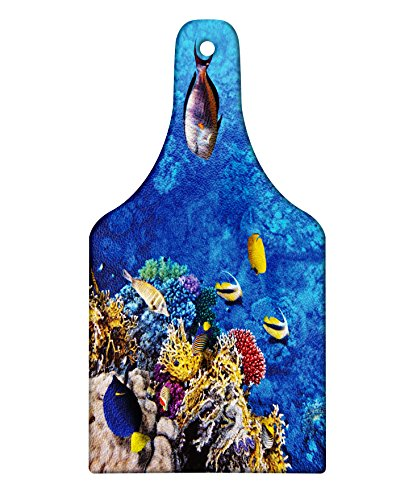 Lunarable Fish Cutting Board, Submerged World in Egypt Red Sea with Plant Animals and Native Creature Nature Theme, Decorative Tempered Glass Cutting and Serving Board, Wine Bottle Shape, Multicolor