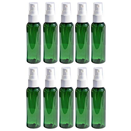 Travel Spray Bottles 2oz. Green PET Plastic Sets with White Fine Misting Sprayers For Essential Oils, Aromatherapy, Perfumes, Bug Repellant, Liquids (10) by Heluva Green (Image #3)