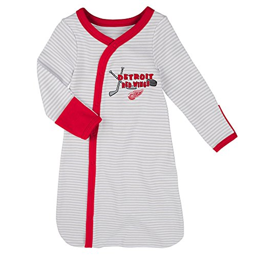 Hockey Art Detroit Red Wings - Outerstuff NHL Detroit Red Wings Children Unisex Gown, Hat & Bootie Set, 1 Size, Cool Grey