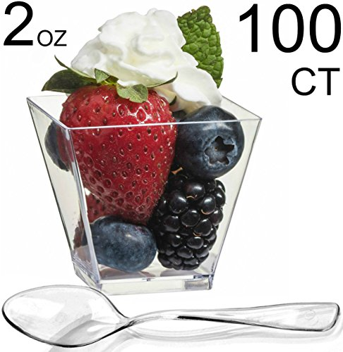 Plate Shot Glass - Zappy 100 Square Mini Dessert Cups 2oz Clear Tasting Sample Shot Glasses 100 Ct Dessert Cups with Spoons Disposable Plastic Appetizer Bowls Mini Parfait Cups Small Tumblers and Mini Spoons