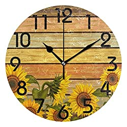Dozili Sunflower Round Wall Clock Arabic Numerals Design Non Ticking Wall Clock Large for Bedrooms,Living Room,Bathroom