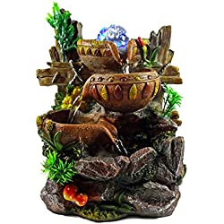 Indoor Tabletop Fountain Cascading Water Buckets on Rocks