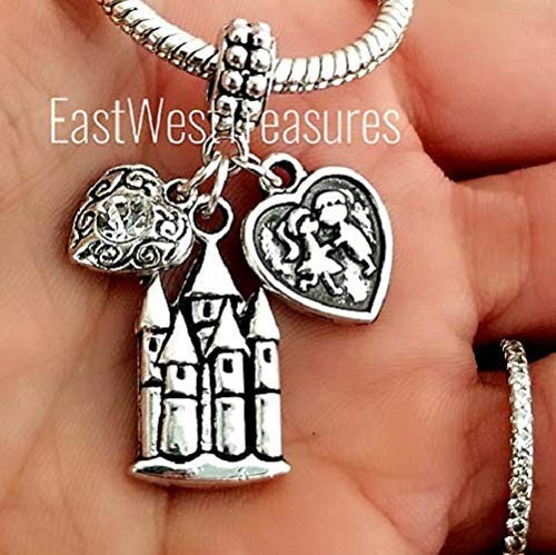 My Happily Ever After Castle of love Couples in Love kissing Charm bracelet and necklaces-Jewelry gifts for her women wife