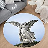 Nalahome Modern Flannel Microfiber Non-Slip Machine Washable Round Area Rug-re of a Guardian Angel with Sword in the Cemetery of Comillas Cantabria Spain Image Ivory area rugs Home Decor-Round 67''