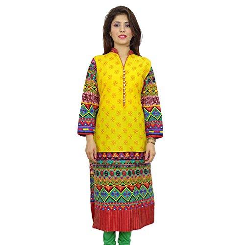 Diseño indio de Bollywood desgaste de mujeres étnico vestido casual Toptunic Kurti Amarillo y rojo-1