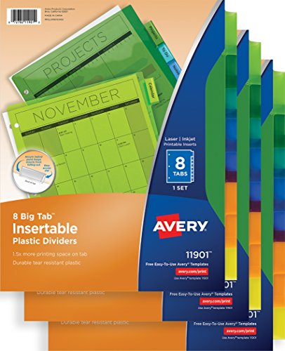 Plastic Avery Binder (Avery Big Tab Insertable Plastic Dividers, 8-Tab Set, Multicolor, Multi Pack of 3 Sets (11901))