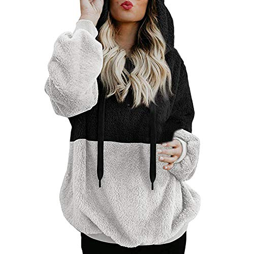 GOVOW Warm Zipper Hoodie Open Front Women Hooded Sweatshirt Winter Pocket Pullover Blouse Shirts(US:8/CN:S,Black)