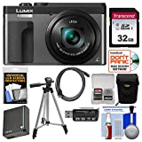 Panasonic Lumix DC-ZS70 4K Wi-Fi Digital Camera (Silver) with 32GB Card + Case + Battery + Tripod + Cleaning Kit