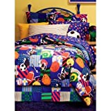 6 Piece Boys Twin Sports Comforter Set With Sheet Set, Reversible Bedding Squares, All Star Baseball Football Soccer Basketball All Over Pattern, Children Mix Sports Themed Pattern, Multicolored
