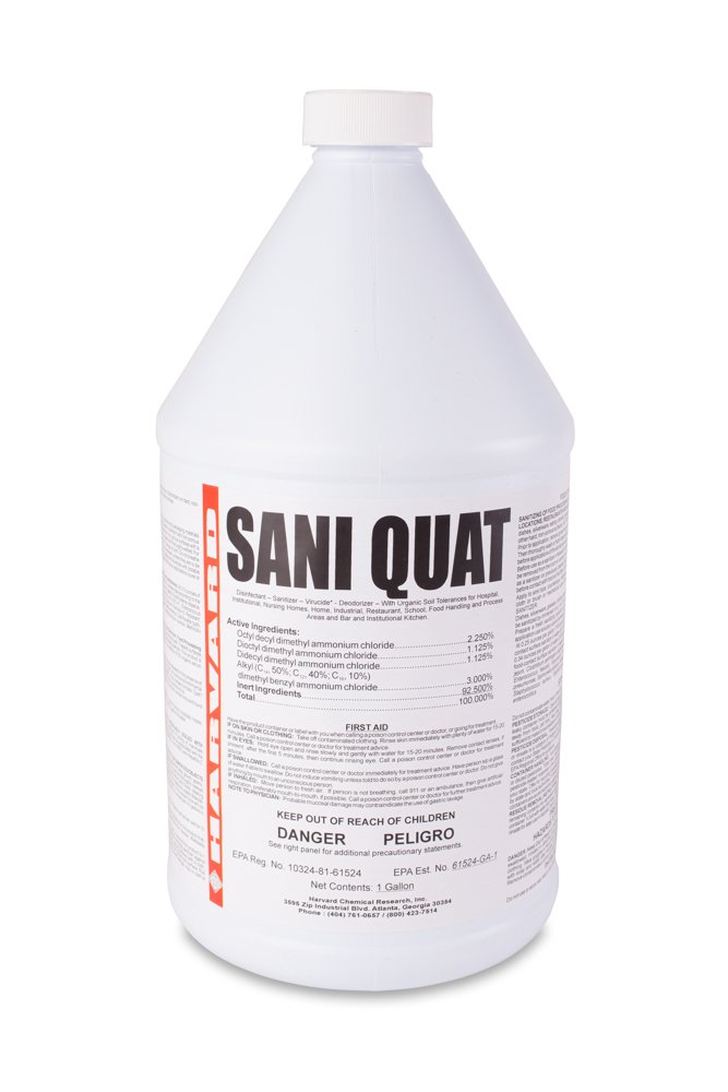 Harvard Chemical 608 Sani-Quat Multi Use Disinfectant and Sanitizer, Low Odor, 1 Gallon Bottle, Clear (Case of 4)