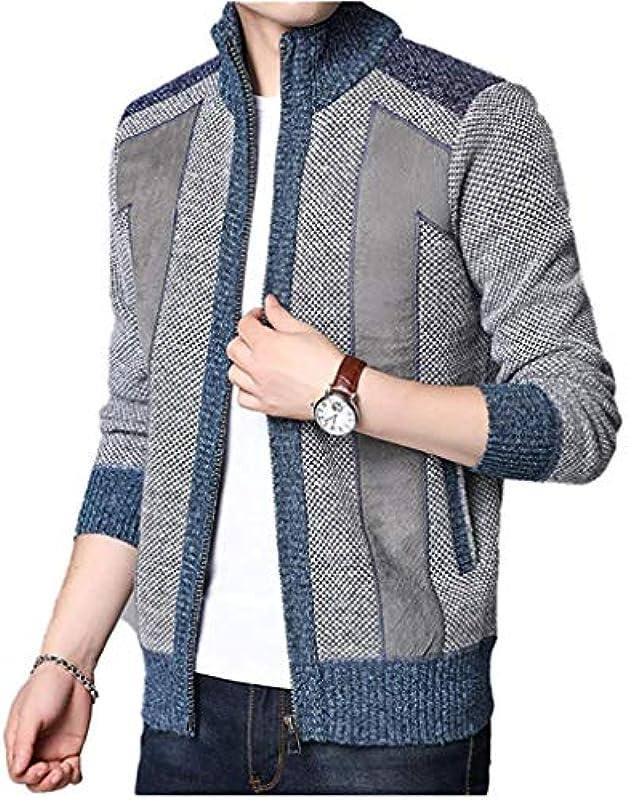 Winter Thick Warm Sweater Coat Men Cardigan Jumpers Patchwork Cashmere Wool Liner Zipper Fleece Coats,Light Gray,Large: Odzież