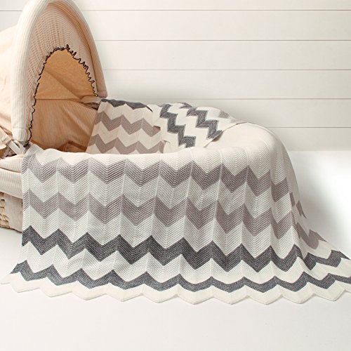 Blanket Crochet Edging Baby (Cozyholy Elegant Knit Blankets Soft Fancy Baby Throw for Cribs Neutral Stroller Cover with Ribbed Border for Girls Boys, 40x30 inch, Chevron (Grey))