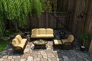 Forever Patio Leona 6piezas moderno juego de sofá de mimbre al aire libre con Golden Sunbrella cojines (SKU fp-leo-6ss-mc-cw)