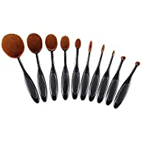 Makeup Brushes, Ranphykx 10pcs Oval Makeup Brush Set Professional Toothbrush Set for Powders, Concealer, Contours, Foundation, Eyeshadow and Eyeliner