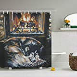 Una Stowe Fireplace Alaskan Home Decor Shower Curtain Fabric Bathroom Decor Set with Hooks 59 ¡Á 71''''